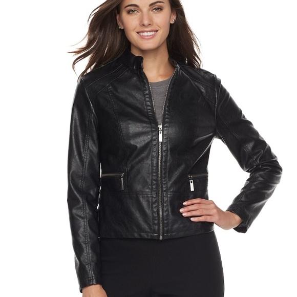 1f46d90b3ce4 w TAG Faux LEATHER Black MOTO Jacket. Boutique. Apt. 9